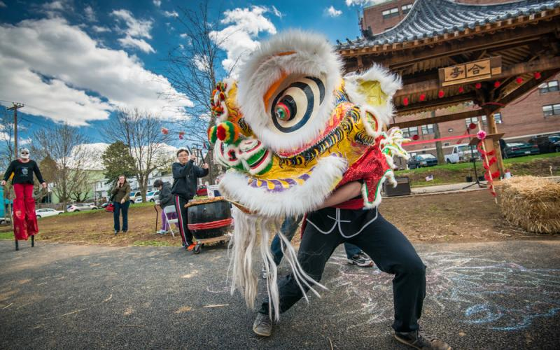 """Theatrical production, """"Journey From the East,"""" a collaborative effort between the Touchstone Theater and Lehigh University Photo by Ryan Hulvat, Chinese Dragon, 2013, Archival digital print, courtesy of Lehigh University Art Galleries Teaching Collection"""
